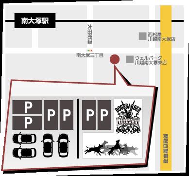川越の南大塚駅からルルンチまでの地図・駐車場マップ